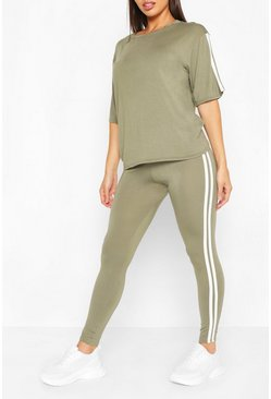 Womens Khaki Short Sleeve Side Stripe Lounge Set