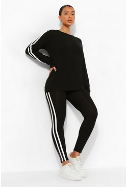 Womens Black Side Stripe Lounge Set