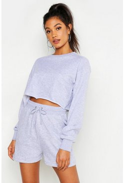 Grey marl Mix & Match Soft Cropped Loop Back Sweat