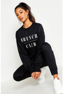 Womens Black Mix & Match Brunch Club Lounge Sweat