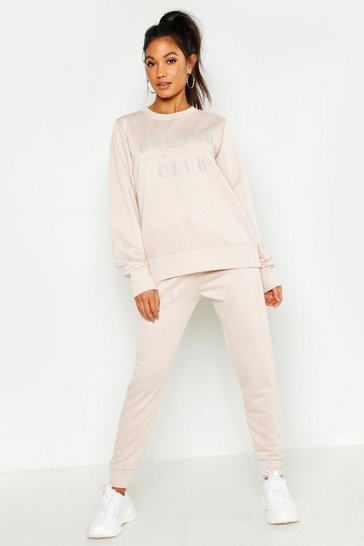 Womens Ecru Mix & Match Brunch Club Lounge Sweat