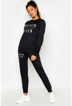 Womens Black Mix & Match Brunch Club Lounge Jogger
