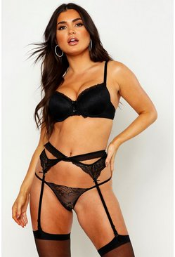 Womens Black Push Up Bra Suspender Thong & Stocking Set