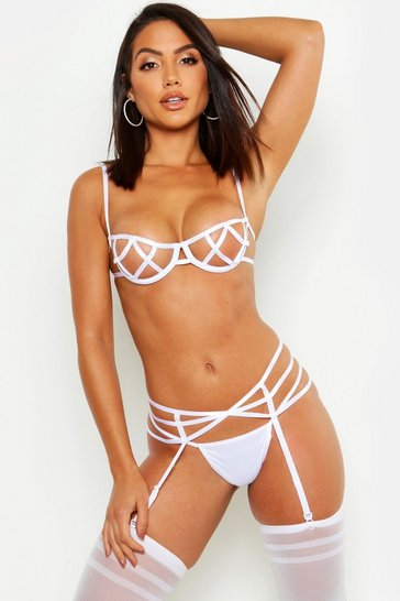 Womens White Strapping Peek-A-Boo Set