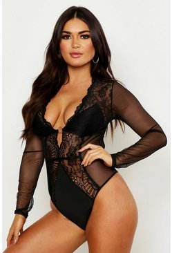 Womens Black Long Sleeve Lace & Mesh Plunge Body