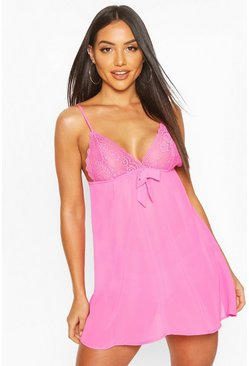 Hot pink Lace & Bow Babydoll