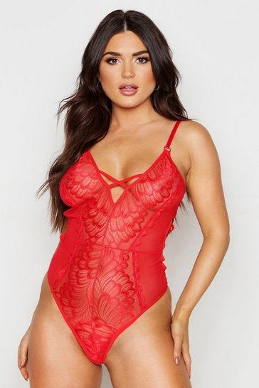 Womens Red Cut Out Plunge Lace Body
