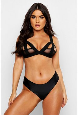 Black Strapping & Mesh Cut Out Bralet
