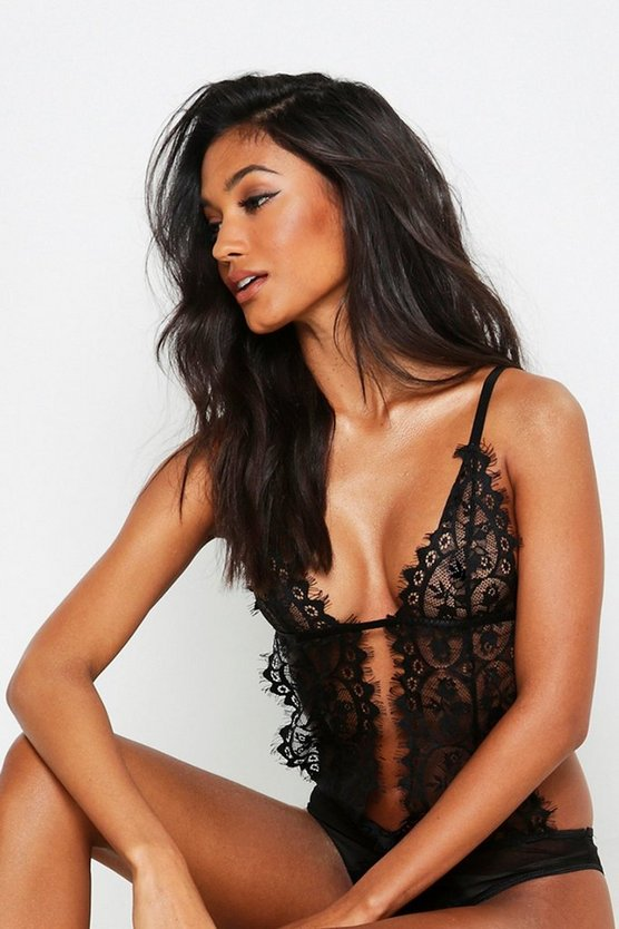 Womens Black Plunge Eyelash Lace Body
