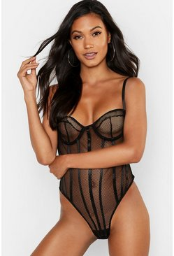 Womens Black Fishnet Body