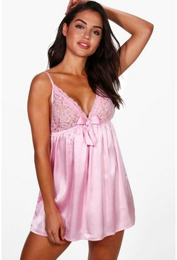 Pink Satin & Lace Bow Babydoll