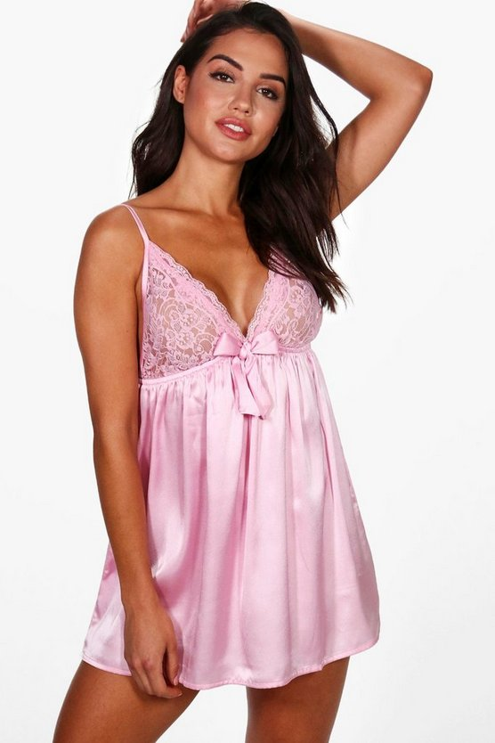 Womens Pink Satin & Lace Bow Babydoll