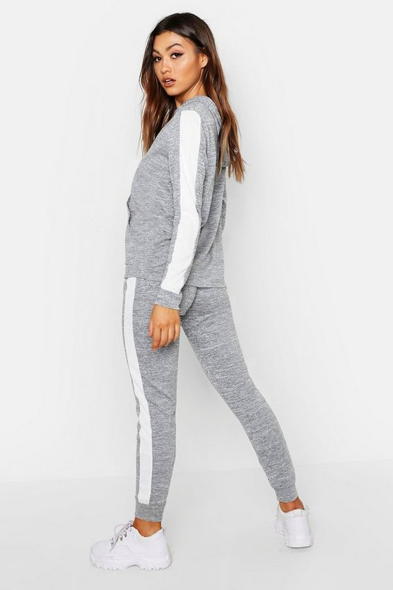 Stripe Insert Rib Hoody Lounge Set