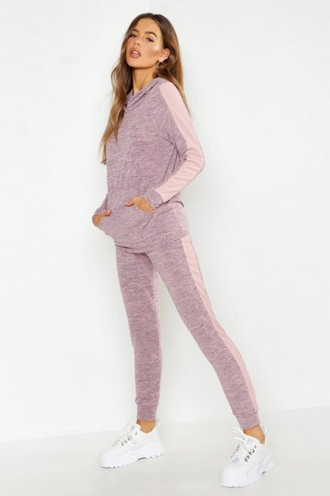 Womens Pink Stripe Insert Rib Hoody Lounge Set