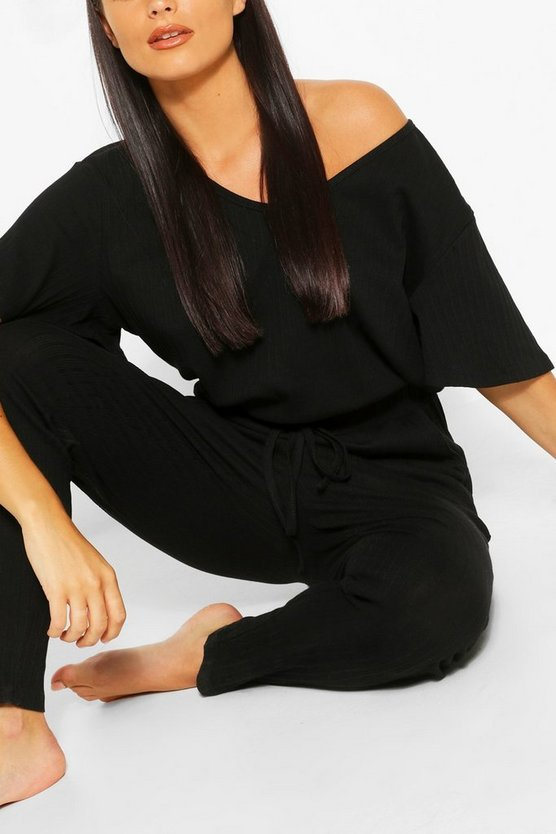 Womens Black Ribbed Slouch Tie Jumpsuit