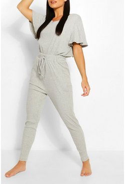 Womens Grey Ribbed Slouch Tie Jumpsuit