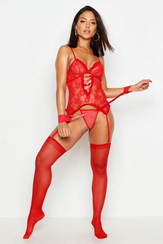 Lace Up Basque Thong Stocking & Cuffs Set