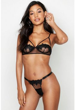 Womens Black Applique & Mesh Strapping Set