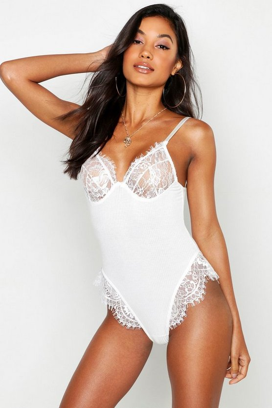 Womens White Ribbed Eyelash Lace Body