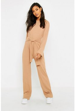 Womens Camel Tie Front Rib Jumpsuit
