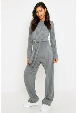 Womens Grey Tie Front Rib Jumpsuit