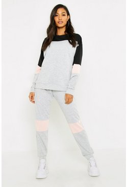 Womens Grey Contrast Stripe Lounge Set