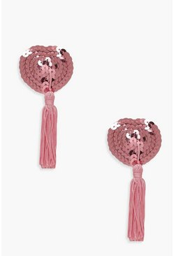 Womens Pink Sequin Tassel Nipple Covers