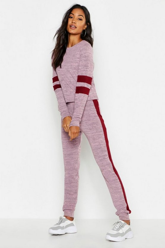 Womens Pink Stripe Detail Lounge Set