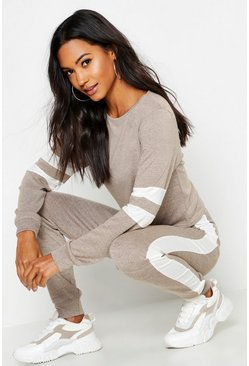 Womens Stone Stripe Detail Lounge Set