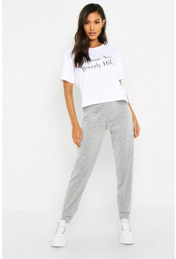 Womens Grey Melrose Ave Tee & Jogger Set