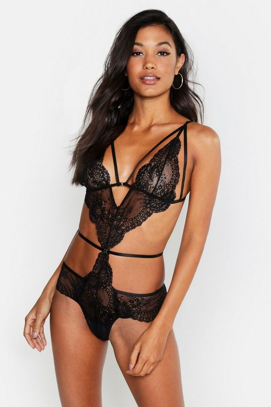 Womens Black Cut Out Strapping Lace Body