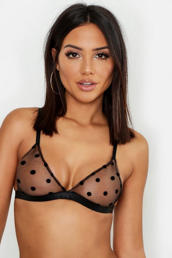 Womens Black Spot Mesh Triangle Bralet