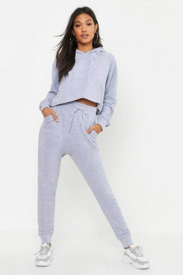Womens Grey marl Crop Hoodie & Jogger Set