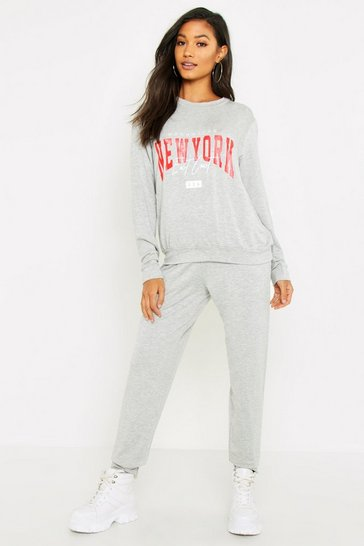 Womens Grey New York Sweat & Jogger Set