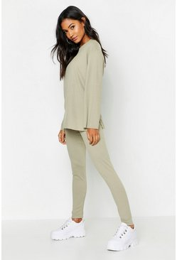 Sage Ribbed Crew Neck Split Lounge Set