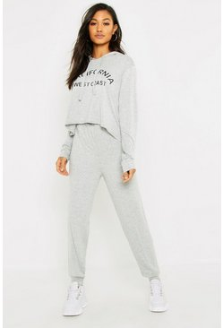 Womens Grey California Hooded Lounge Set