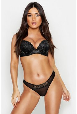 Womens Black Glitter Lace Super Push Up Bra