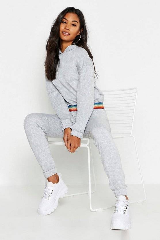 Womens Grey Glitter Rainbow Hooded Lounge Set