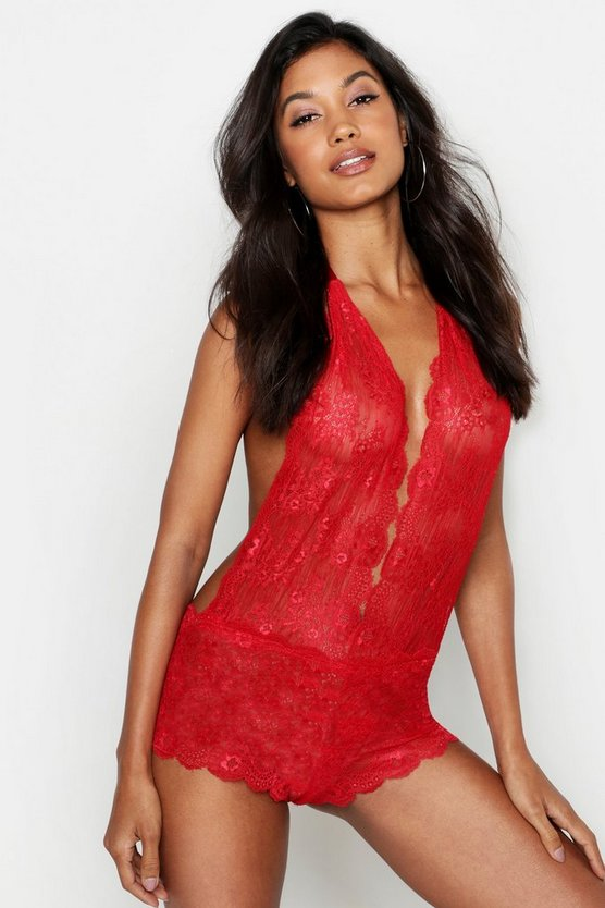 Womens Red Plunge Low Back Lace Body