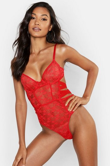 Womens Red Wired Elastic Side Detail Body