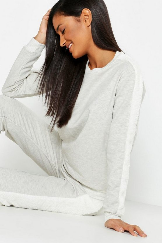 Fleece Side Stripe Lounge Set