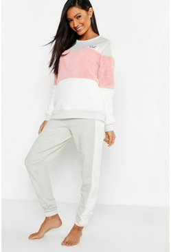 Womens Grey Fleece Contrast Slogan Lounge Set