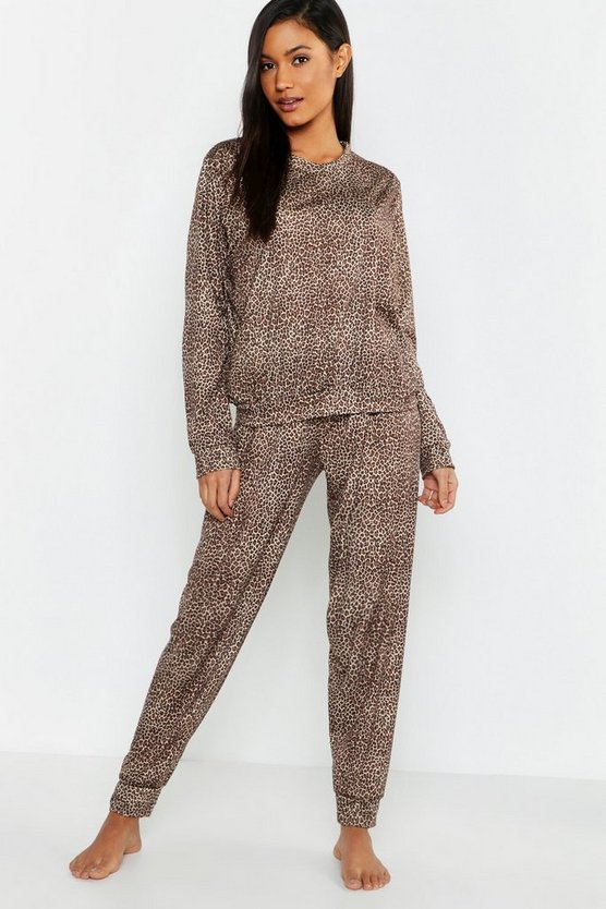Womens Brown Leopard Print Slouch Lounge Set