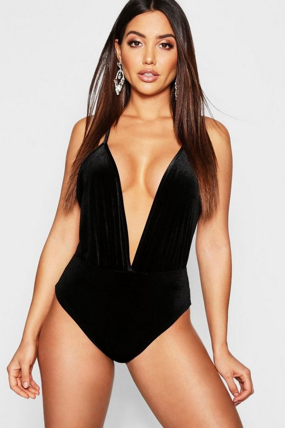 Womens Black Velvet Plunge Body