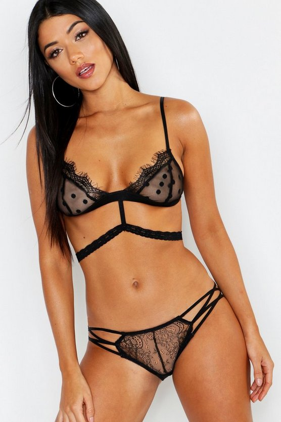 Womens Black Spot Mesh & Eyelash Lace Bralet