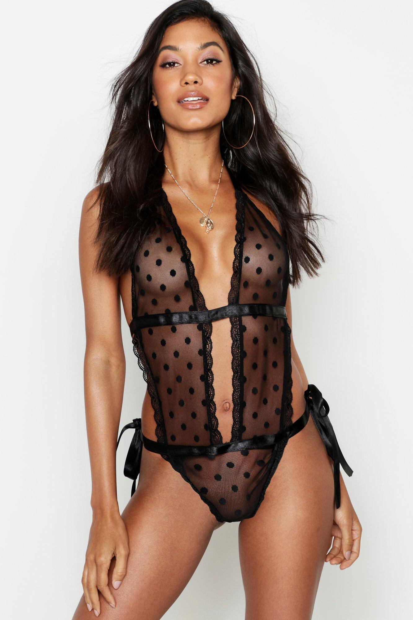 Spot Mesh Tie Up Body