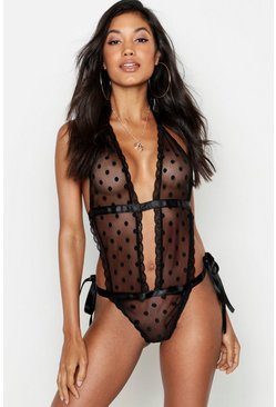 Womens Black Spot Mesh Tie Up Body