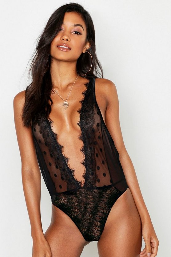Womens Black Spot Mesh & Eyelash Lace Body