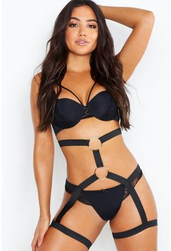 Womens Black Strapping Ring Harness