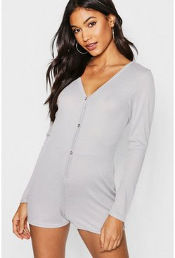 Womens Grey Rib Supersoft Lounge Playsuit